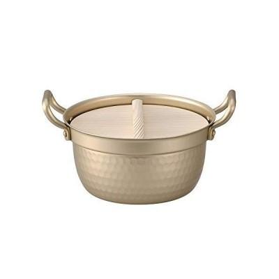 日本製 小伝具 アルミ段付鍋 15.5cm 木蓋付き 槌目入り アルミ鍋