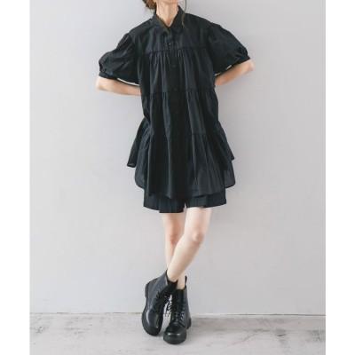 ファッションレター Fashion Letter ティアードチュニックブラウス 21SS (ブラック)