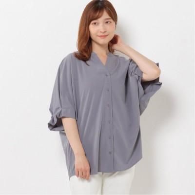 吸水速乾・UV加工・ストレッチ素材◎袖タックスキッパーシャツ ブルー M L LL 3L