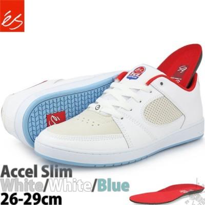 スケボー シューズ エス アクセル スリム ホワイト/ブルー es Accel Slim White/Blue スケートボード レザー メンズ ローカット スニーカー スケシュー