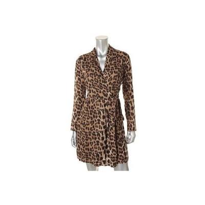 ロメオジュリエットクチュール ドレス ワンピース Romeo & Juliet Couture 2336 レディース ブラウン アニマル プリント ラップ ドレス M BHFO