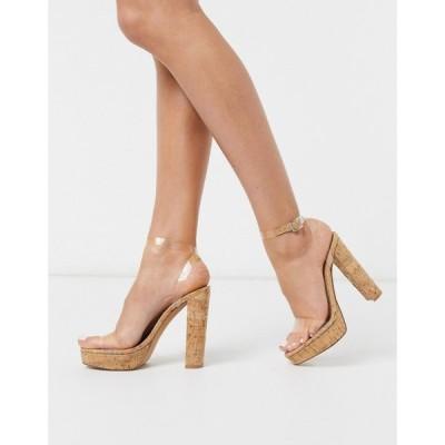 エイソス ASOS DESIGN レディース サンダル・ミュール シューズ・靴 Nutshell clear platform barely there heeled sandals in cork