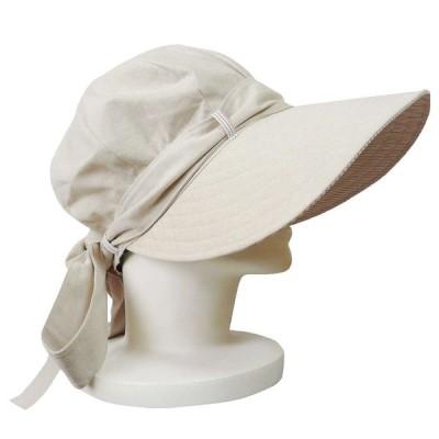 【外出用】【UV対策】 リボン付きつば広キャスケット帽子 :ベージュ