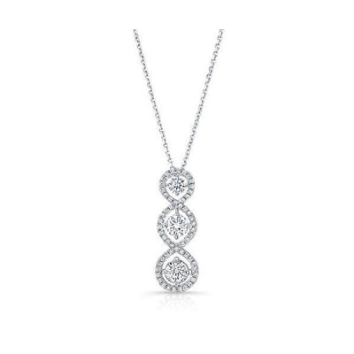 Pave Vertical Triple Infinity 3-Stone Pendant Necklace, 17 Inches【並行輸入品】