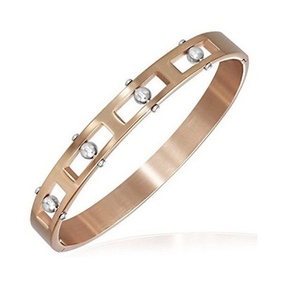 My Daily Styles Stainless Steel Rose Gold-Tone Beads Oval-Shaped Unisex Ban