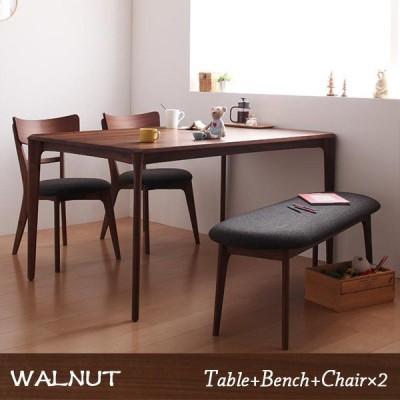 無垢材という贅沢 ウォールナット ダイニング 4点セット / ダイニングテーブルセット 4人用 おしゃれ muk 1