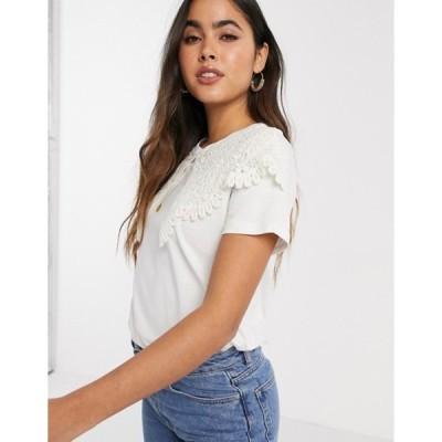 リバーアイランド レディース シャツ トップス River Island large crochet lace collared t-shirt in white