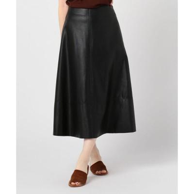 スカート レザーフレアスカート