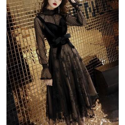 結婚式ドレス お呼ばれ ドレス ワンピース 30代 20代 ワンピース ドレス ワンピース 黒 パーティドレス ミモレ丈 aライン ワンピース ミモレ丈 jm5357