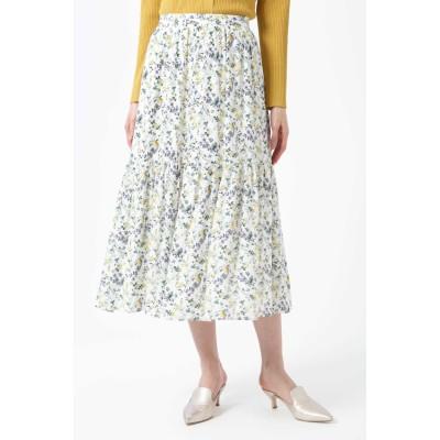◆[WEB限定商品]フラワープリントティアードスカート