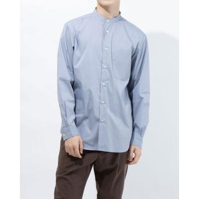 コムサイズム COMME CA ISM リラックスフィットバンドカラーシャツ (サックス)