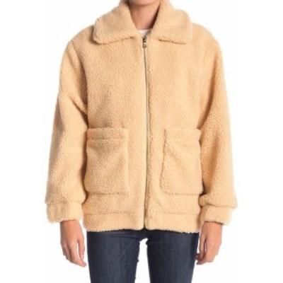 ファッション 衣類 ELODIE NEW Beige Womens Size Small S Faux-Shearling Teddy Jacket