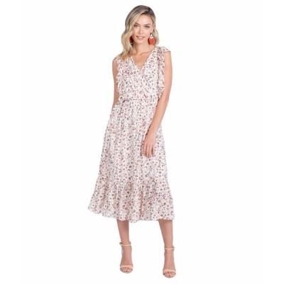 アメリカンローズ ワンピース トップス レディース Summer Sleeveless Faux Wrap Dress Ivory/Multi