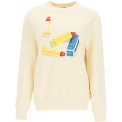 LANVIN/ランバン Beige Lanvin lipstick print sweatshirt レディース 春夏2021 RWTO660JJU02P21 ik