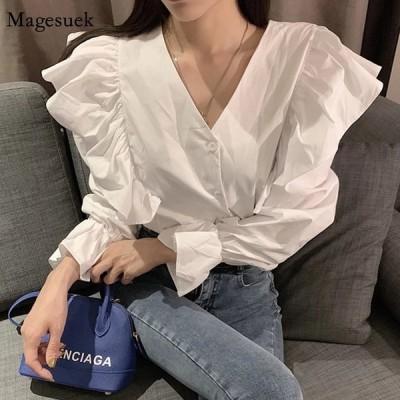 韓国スタイルの春のレディーストップス新しいVネックフリルステッチシャツ長袖ファッションブラウスエレガントな無地の服13827