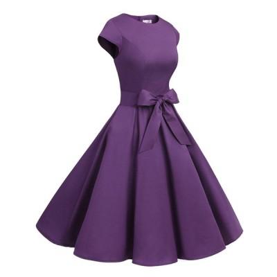 ドレッシースター 1956スイングワンピース レトロ ドレス 50年代 ロカビリー ベルト付き レディーズ パープル XLサイズ