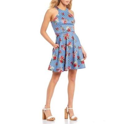 シティヴァイブ レディース ワンピース トップス Sleeveless Floral-Dot Print Open-Back Dress