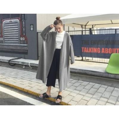 トップス カーディガン ロング ニット オーバーサイズ 春 秋 黒 グレー ブルー グリーン レディース フリーサイズ #2169