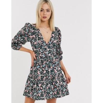 エイソス レディース ワンピース トップス ASOS DESIGN cotton trapeze mini dress in vintage floral print Black based floral