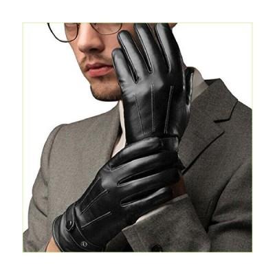 Shinewebメンズファッション冬フェイクレザーオートバイフル指暖かい手袋 US サイズ: Onesize カラー: ブラック「並