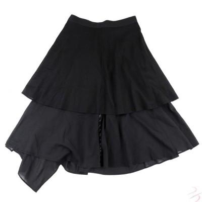 ヨウジヤマモト 12SS リバーシブルレイヤードフレアスカート 黒 1 巻きスカート コットン レディース Yohji Yamamoto【G4-13026】