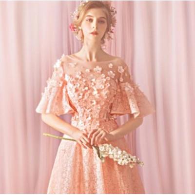 ウェディングドレス 結婚式ワンピース ブライズメイド きれいめ 花柄 フリル袖 お呼ばれ 謝恩会 結婚式 パーティードレス