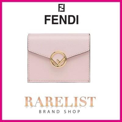 フェンディ FENDI 財布 小財布 フラップ かぶせ 3つ折り 三つ折り 新作 ペールピンク ピンク ゴールド レザー 本革 ロゴ