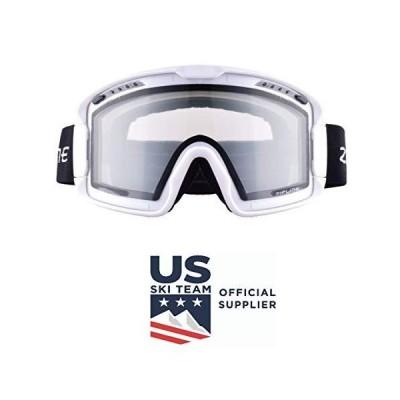 Zipline Hybrid XT Ski/Snowboard Goggles for Men, Women & Youth with Ripclear Lens Protection Film - US Ski Team Official Supplier (White Fra