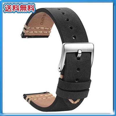 TStrap レザー 時計ベルト 時計バンド 20mm - 本革時計ベルト スマートウォッチ ベルト 交換 - メンズ 時計の替えベ