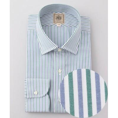 J.PRESS/ジェイプレス 【Single Needle Tailoring】オルタネートストライプ ドレスシャツ グリーン系1 41-85