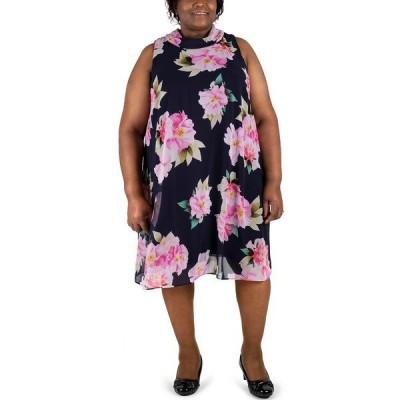 ロビービー ワンピース トップス レディース Plus Size Bow-Back Mock-Neck Trapeze Dress Navy/pink