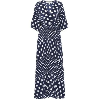 ダイアン フォン ファステンバーグ Diane von Furstenberg レディース ワンピース eloise silk crepe de chine maxi dress Batik Dot New Navy
