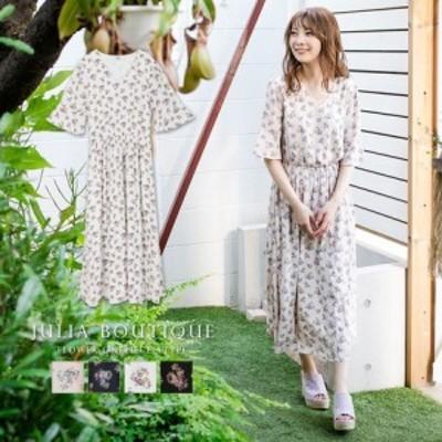 ワンピース 花柄フレア袖ロングワンピース 510638 || レディースアパレル ドレス