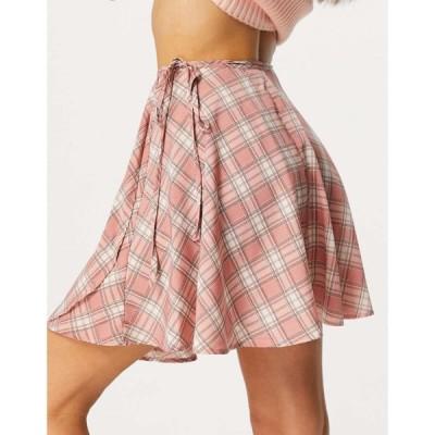 ハートブレーク Heartbreak レディース ミニスカート ラップスカート スカート Wrap Tie Waist Mini Skirt Co-Ord In Pink Check マルチカラー