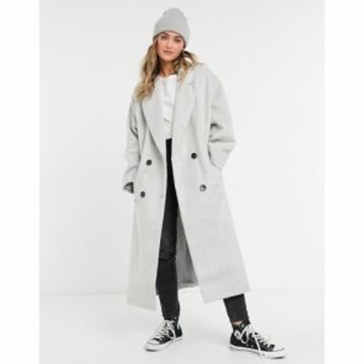エイソス ASOS DESIGN レディース コート アウター Oversized Brushed Chuck On Coat In Grey グレー
