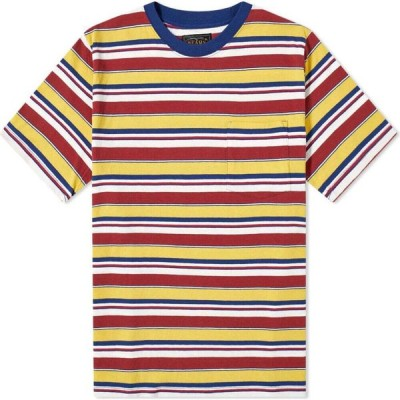 ビームス プラス Beams Plus メンズ Tシャツ ポケット トップス Multi Stripe Pocket Tee Navy