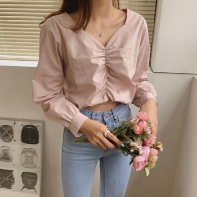 HEYLADY レディース ブラウス Twill shirring blouse