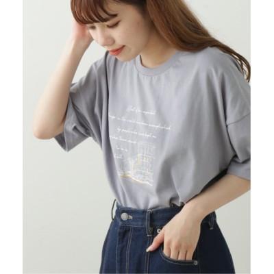 (framesRayCassin/フレームスレイカズン)バックレースアップTシャツ/レディース ブルー