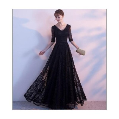 パーティードレス 刺繍 透け感レース Vネック きれいめ 二次会 お呼ばれ 結婚式 韓国風 Aライン ワンピース レディース イブニングドレス 高級感 ロングドレス