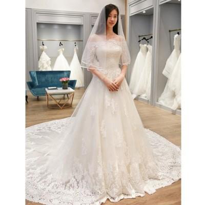 ウエディングドレス 花嫁 結婚式 韓国 大きいサイズ ウェディングドレス aラインドレス ホワイト 二次会 Aライン 披露宴 ブライダル 結婚式 ロングドレス
