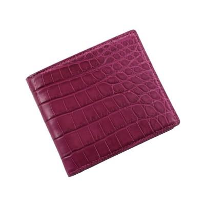 【サンキョウショウカイ】 クロコダイルレザー折り財布マット加工両カード ユニセックス ピンク FREE sankyoshokai