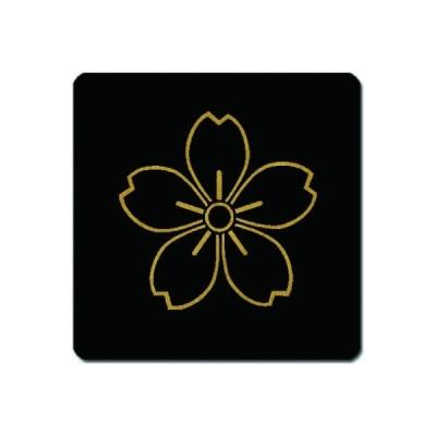 家紋コースター 金紋黒地 陰山桜 11cm x 11cm KC11-0176