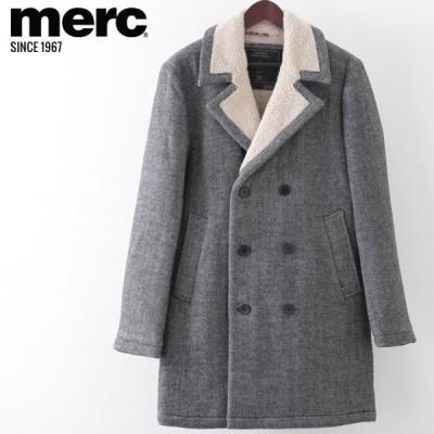 メルクロンドン メンズ オーバーコート ツイード ヘリンボーン ウール Merc London ダークグレー