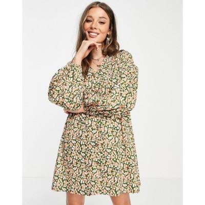 エイソス ミディドレス レディース ASOS DESIGN button through mini smock dress with long sleeves in green and pink floral エイソス ASOS マルチカラー