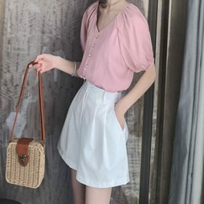 レディース ブラウス パンプキンスリーブ Vネック 半袖 ショートシャツ トップス ピンク ホワイト M L XL 2XL 3XL 4XL 送料無料