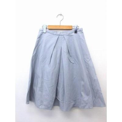 【中古】プラステ PLST スカート ボトムス フレア 膝丈 ジップ コットン 綿 2 アイスブルー 青 /UT33 レディース