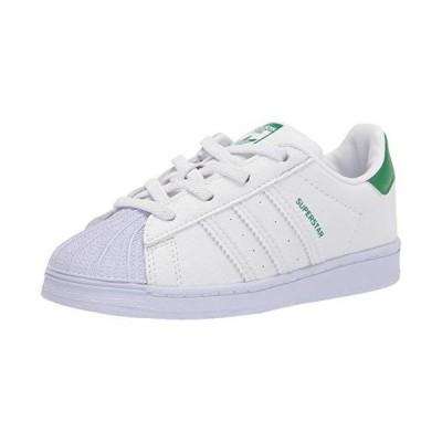 adidas Originals Baby Superstar Elastic Sneaker, White/White/Green, 7.5 Toddler US