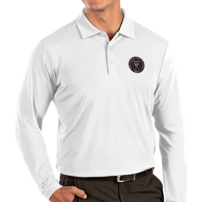 アンティグア Antigua メンズ ポロシャツ トップス Inter Miami CF White Tribute Long Sleeve Performance Polo