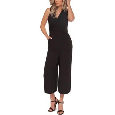 ブラックテープ Black Tape レディース オールインワン キュロット ジャンプスーツ ワンピース・ドレス Faux-Wrap Culotte Jumpsuit Black
