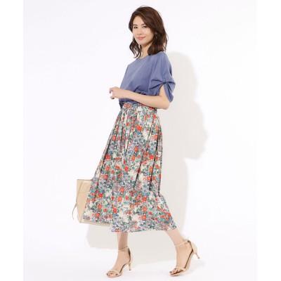 【手洗い可】フラワープリントギャザースカート